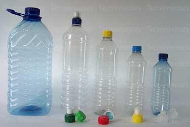 Botellas de pet para agua con sus tapas