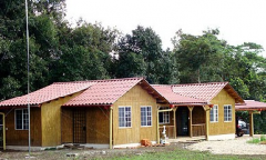 Houses made of wooden panels