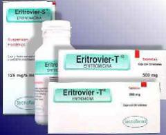 ERITROVIER®  Eritromicina  Suspensión y Tabletas  Antibiótico de espectro medio.