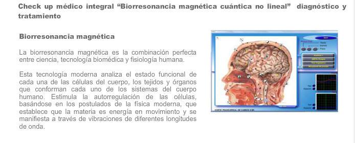 Pedido Servicios medicos de Biorresonancia
